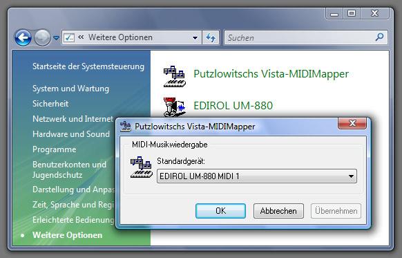 Putzlowitschs Vista MIDI-Mapper Control-Panel