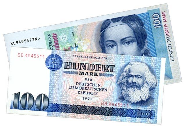 100 DDR-Mark und 100 DM