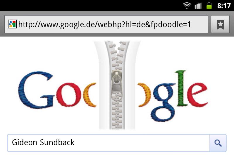 google-doodle gideon sundback