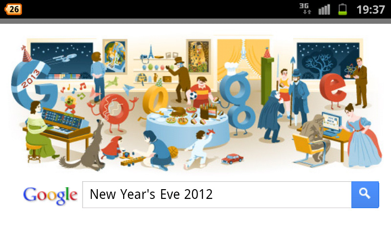 Frohesn eues Jahr - Silvester 2012 - Google-Doodle