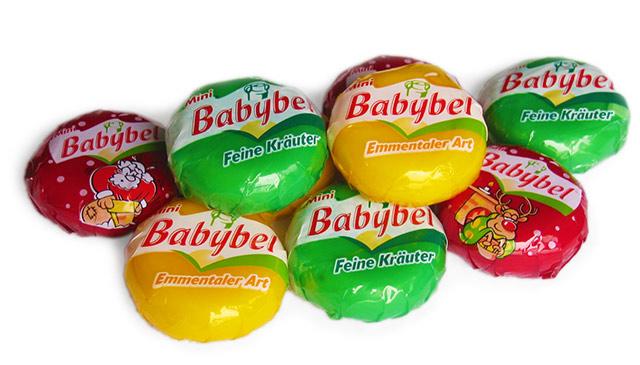 Mini-Babybel rot, gelb und grün