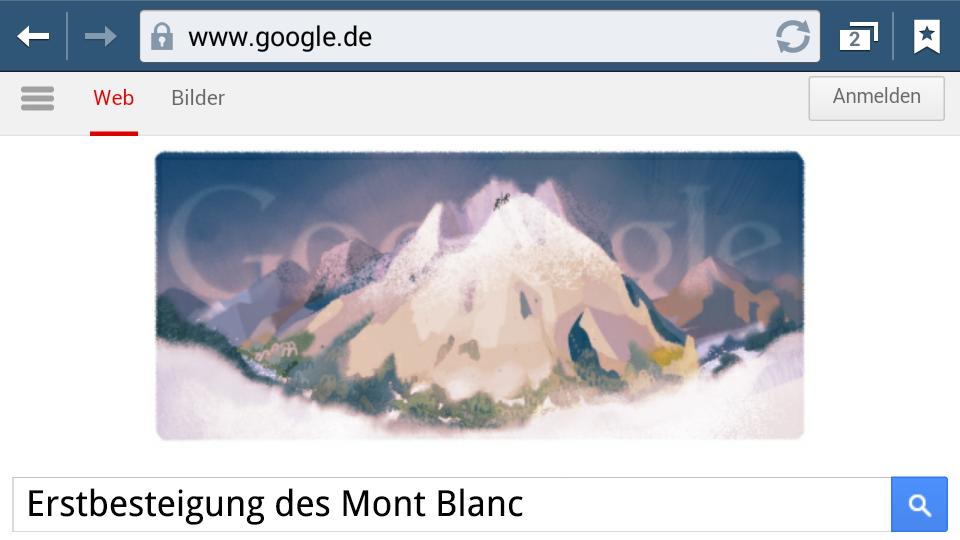 Erstbesteigung des Mont Blanc (Google-Doodle)