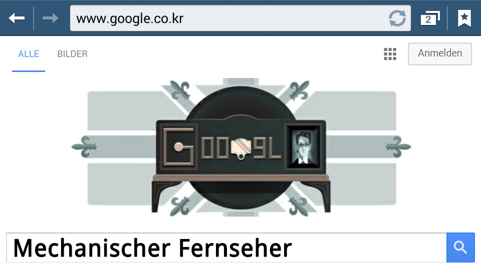 Mechanischer Fernseher (Google-Doodle)