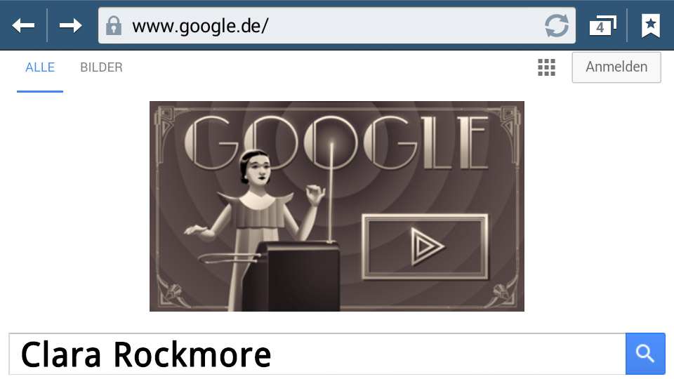 Clara Rockmore (Google-Doodle, mobile Version)