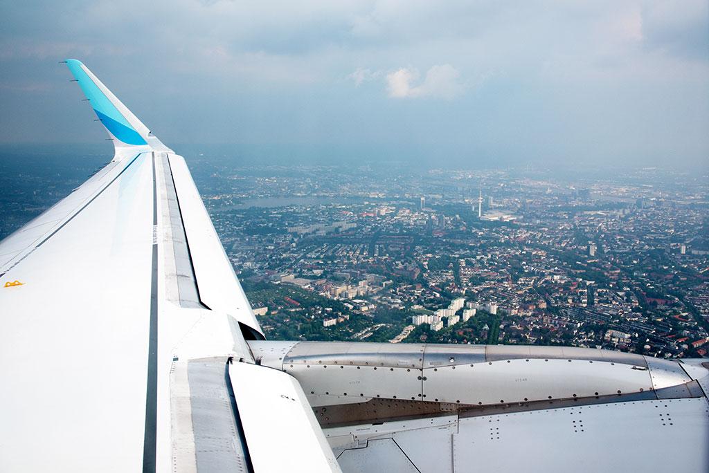 Abflug nach Wien – Blick auf Hamburg