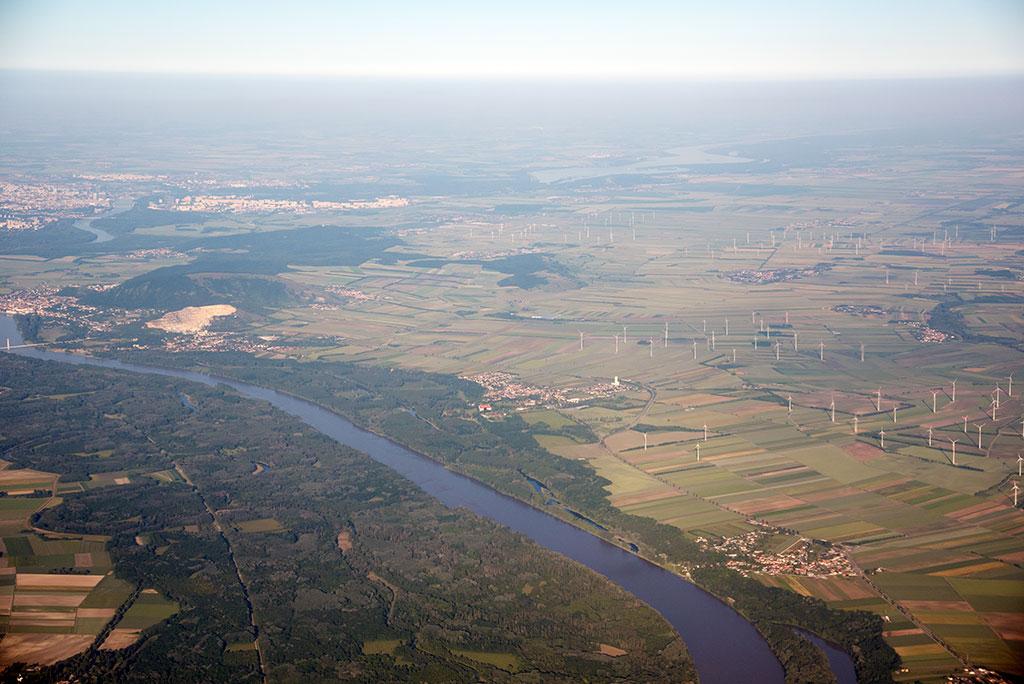 Landeanflug Wien – Blick auf die Donau