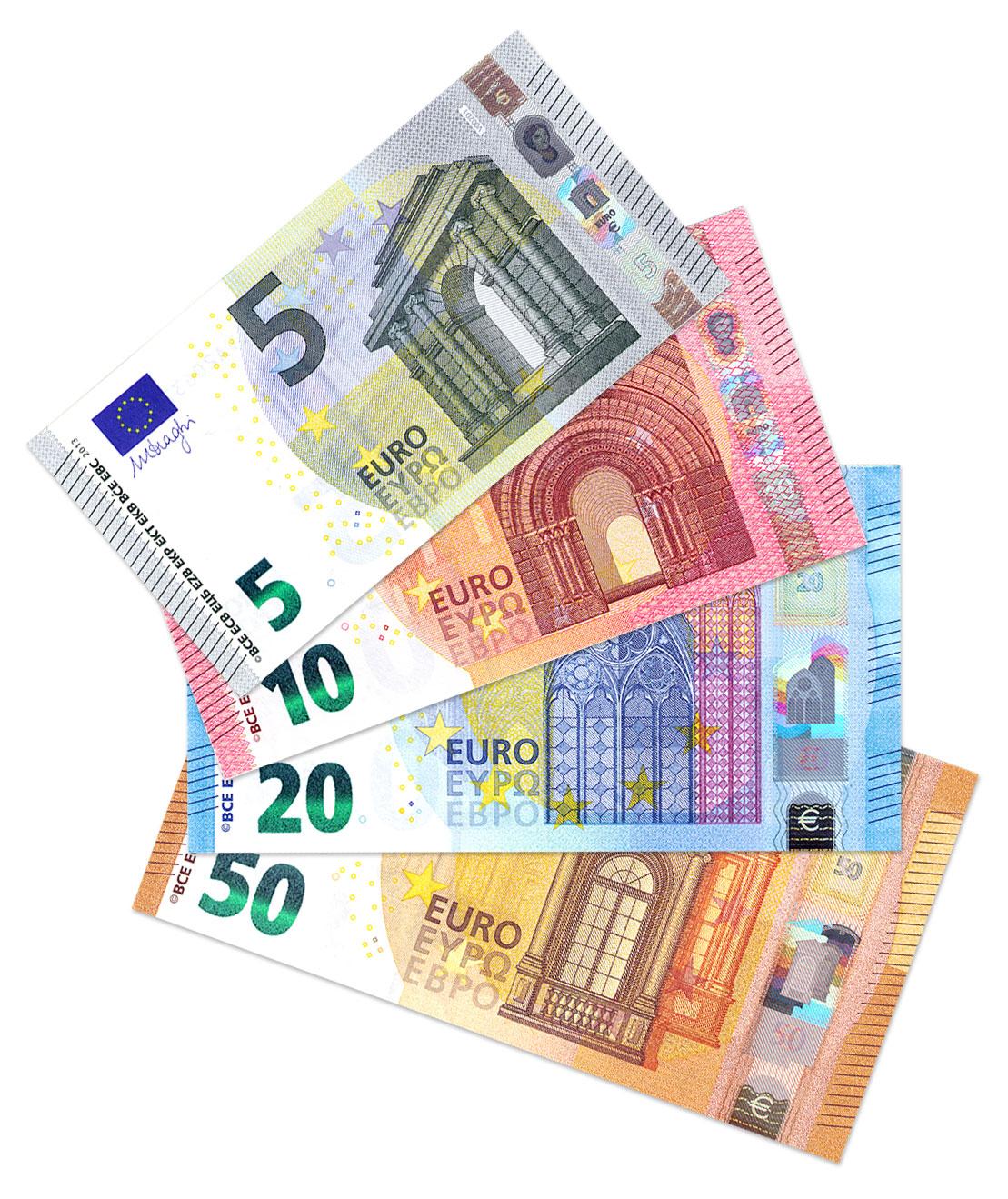 Die neuen Euro-Scheine: 5 10 20 50 Euro
