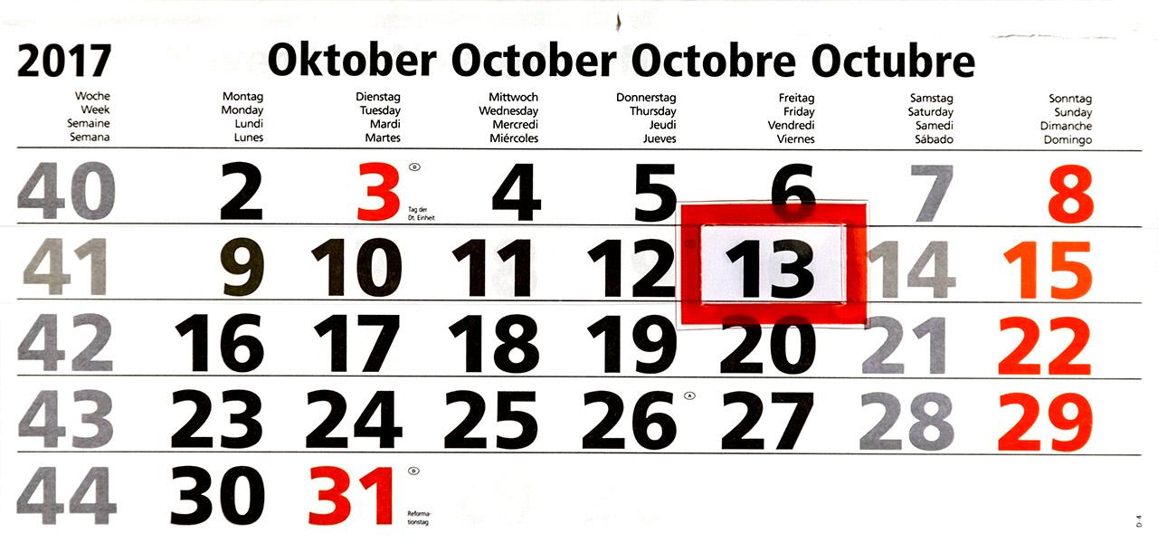 Freitag der 13. Oktober 2017
