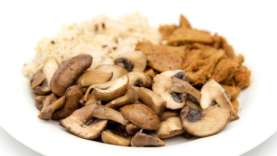 Champignons mit Reis und Gyros