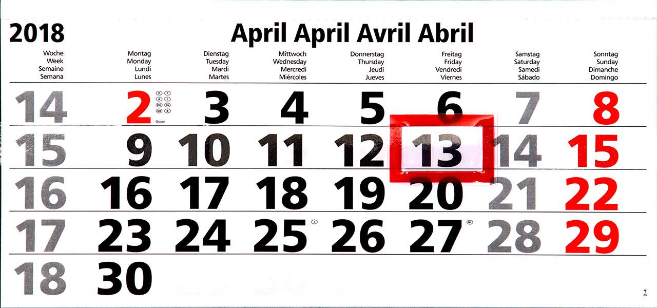 Freitag der 13. April 2018