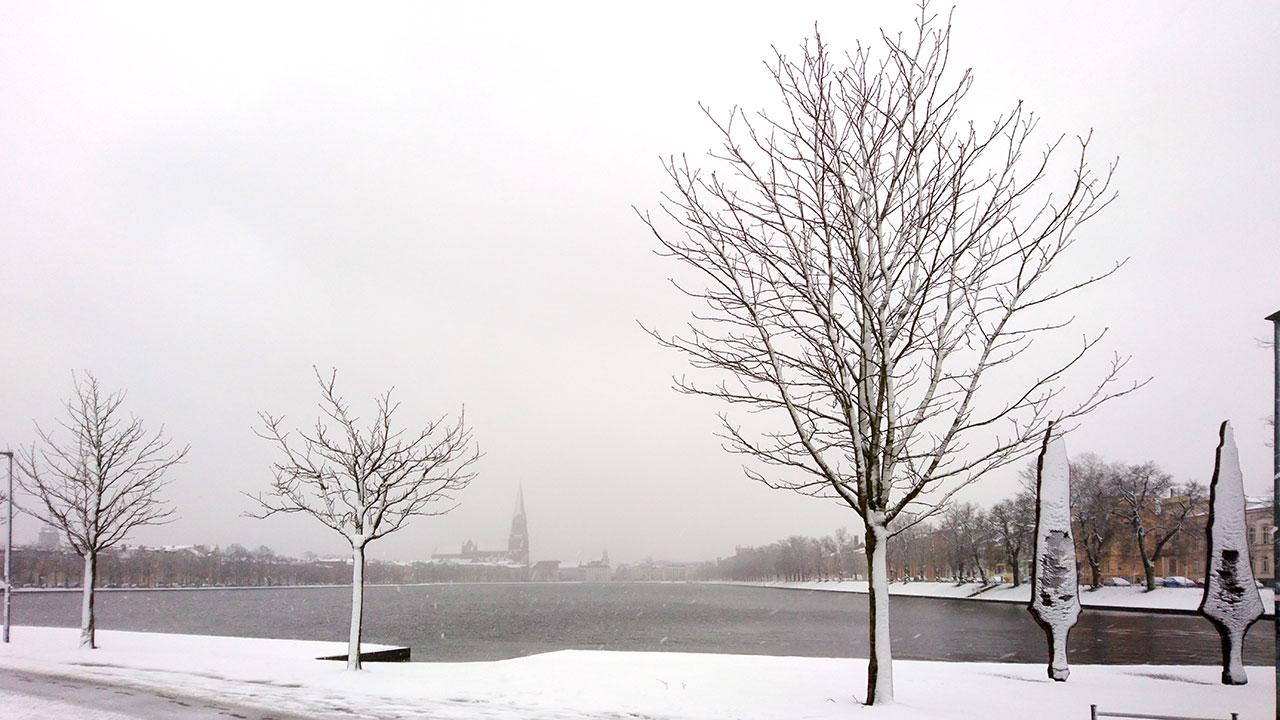 Ostern 2018 – Schnee in Schwerin (Pfaffenteich und Dom)