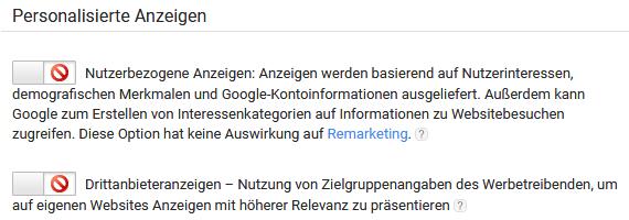 """Google AdSense: """"Personalisierte Anzeigen"""" deaktiviert"""