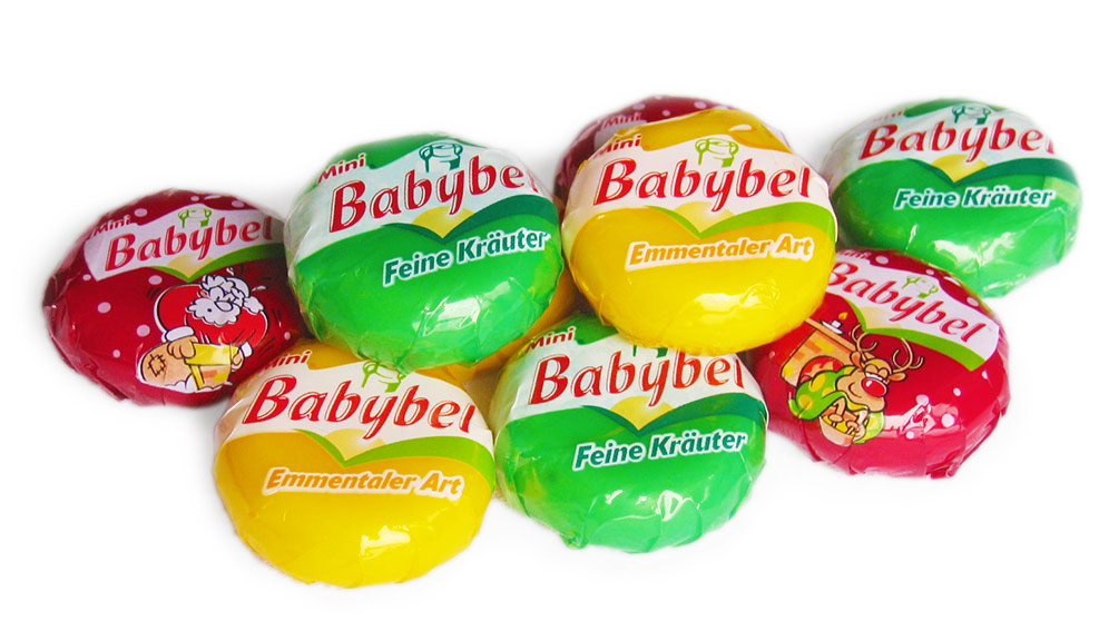 Mini Babybel Original, Emmentaler Art und Feine Kräuter (rot, gelb, grün)