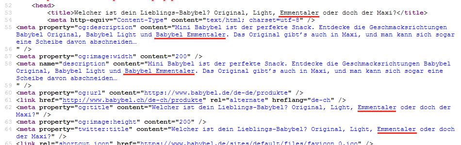 Babybel-Webseite: Emmentaler im Title-Header