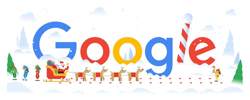 frohe weihnachten happy holidays mit google doodle. Black Bedroom Furniture Sets. Home Design Ideas