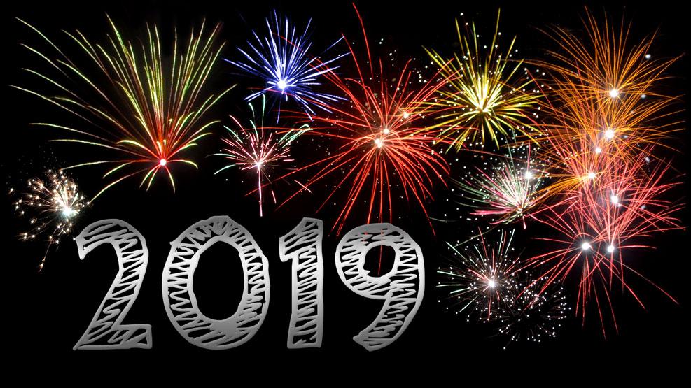 Feuerwerk und Jahreszahl 2019