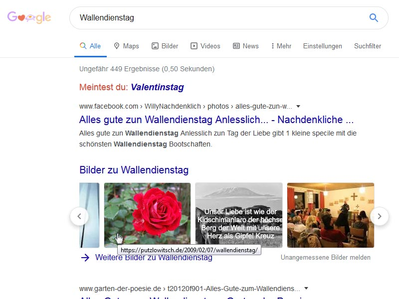 Wallendienstag (Google-SERP 2020)