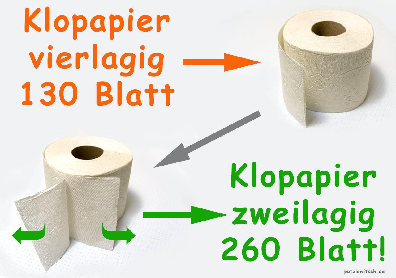 Toilettenpapier Vorrat verdoppeln