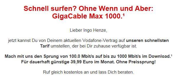 Vodafone-Angebot: GigaCable Max 1000