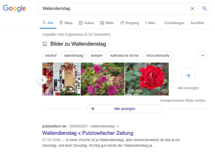 Wallendienstag (Google-SERP 2021)