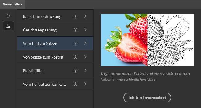 Adobe Photoshop Neural Filters – Vom Bild zur Skizze